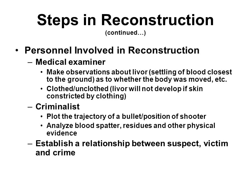 Steps in Reconstruction (continued…)
