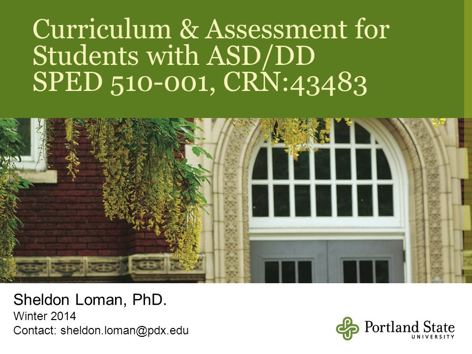 Curriculum & Assessment for Students with ASD/DD
