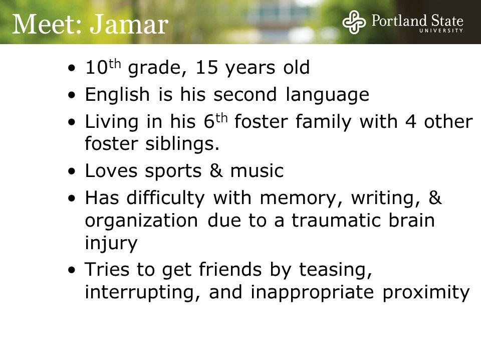 Meet: Jamar 10th grade, 15 years old English is his second language