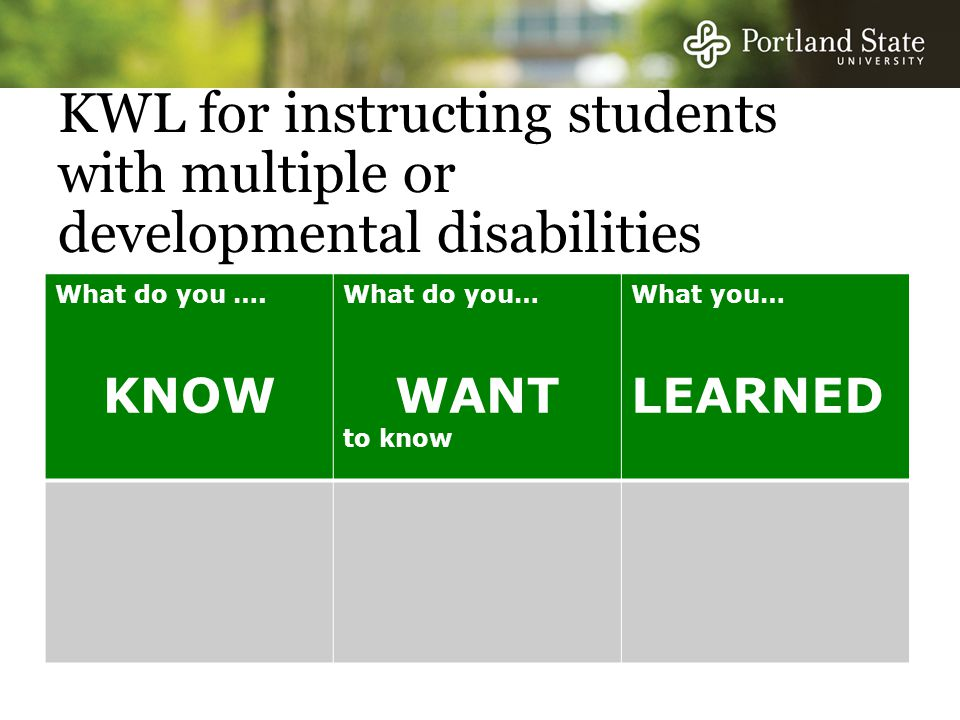 KWL for instructing students with multiple or developmental disabilities