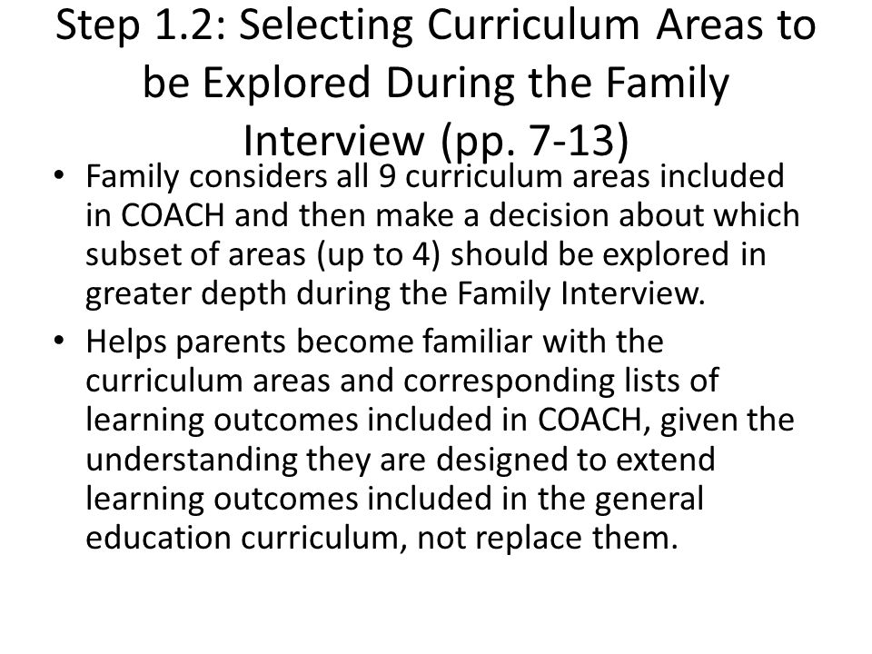 Step 1.2: Selecting Curriculum Areas to be Explored During the Family Interview (pp. 7-13)