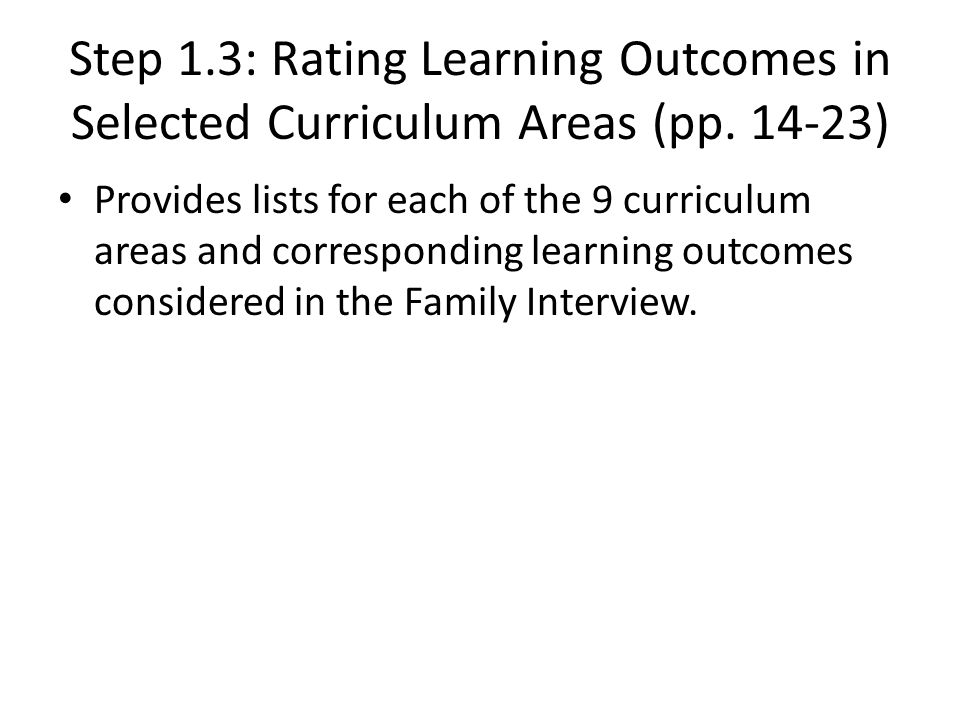 Step 1. 3: Rating Learning Outcomes in Selected Curriculum Areas (pp
