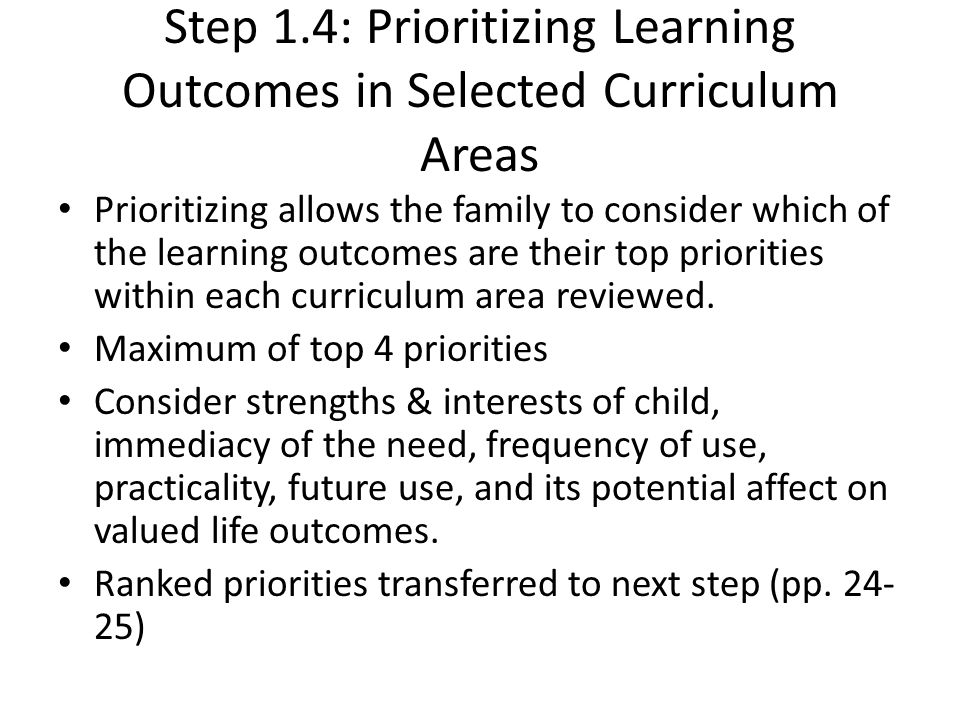 Step 1.4: Prioritizing Learning Outcomes in Selected Curriculum Areas