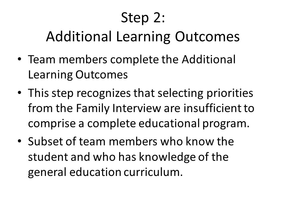 Step 2: Additional Learning Outcomes