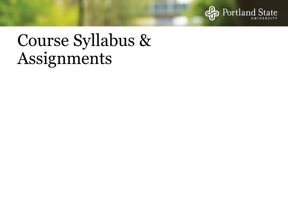 Course Syllabus & Assignments
