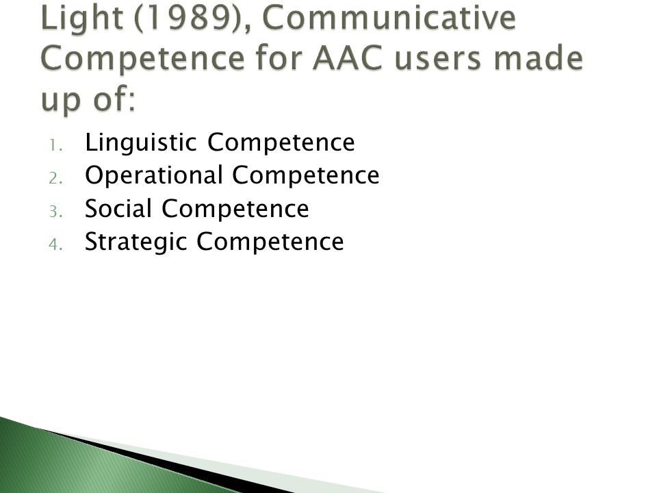 Light (1989), Communicative Competence for AAC users made up of: