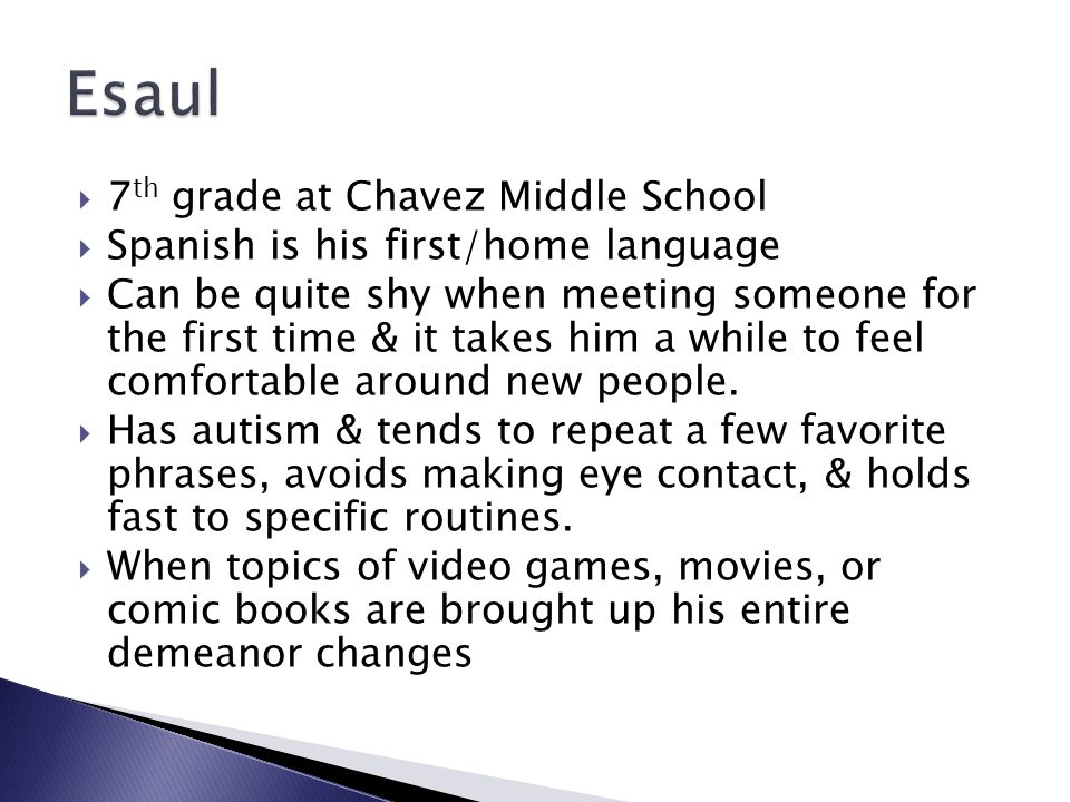 Esaul 7th grade at Chavez Middle School