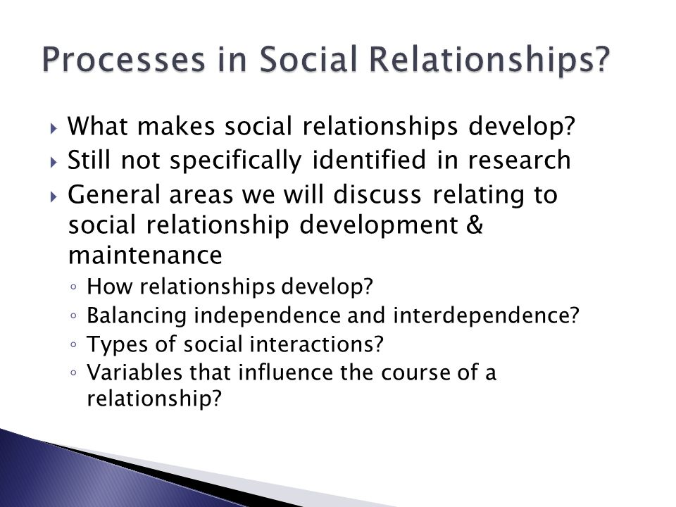 Processes in Social Relationships