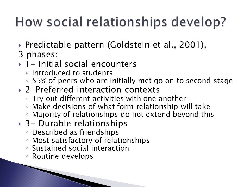 How social relationships develop