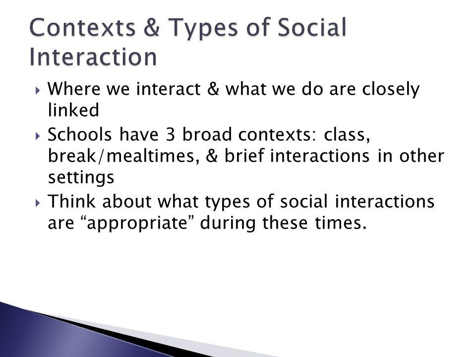 Contexts & Types of Social Interaction