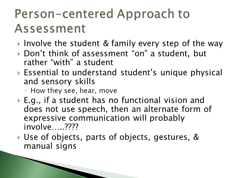 Person-centered Approach to Assessment
