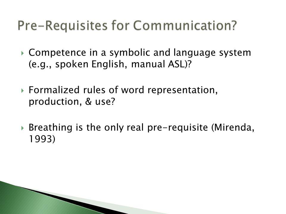 Pre-Requisites for Communication