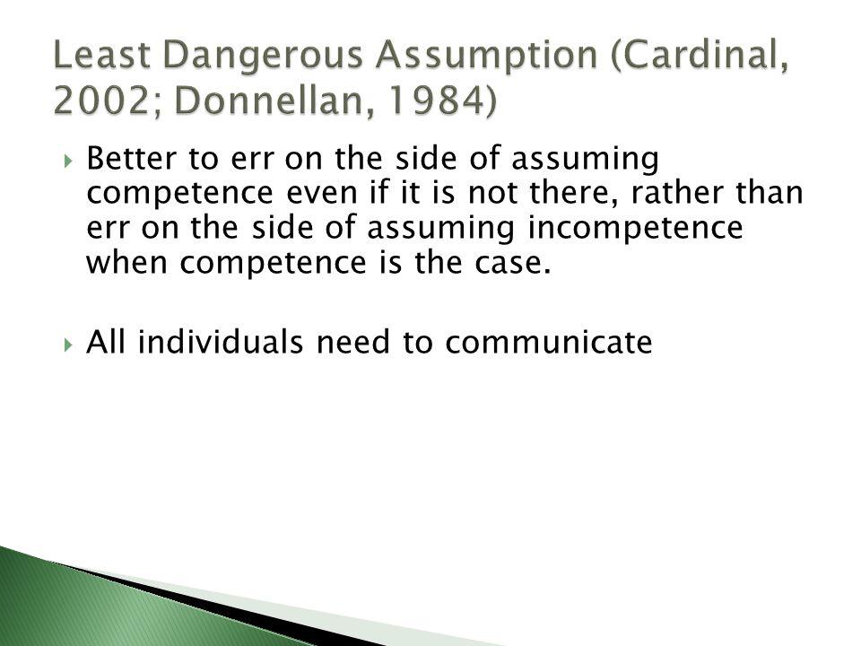 Least Dangerous Assumption (Cardinal, 2002; Donnellan, 1984)