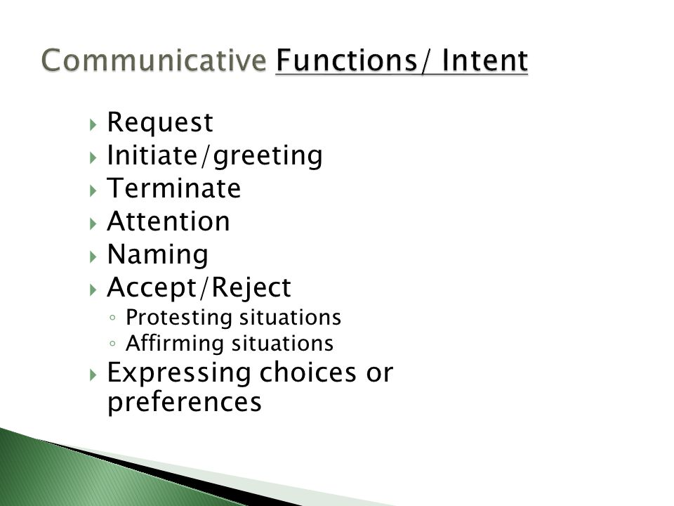 Communicative Functions/ Intent