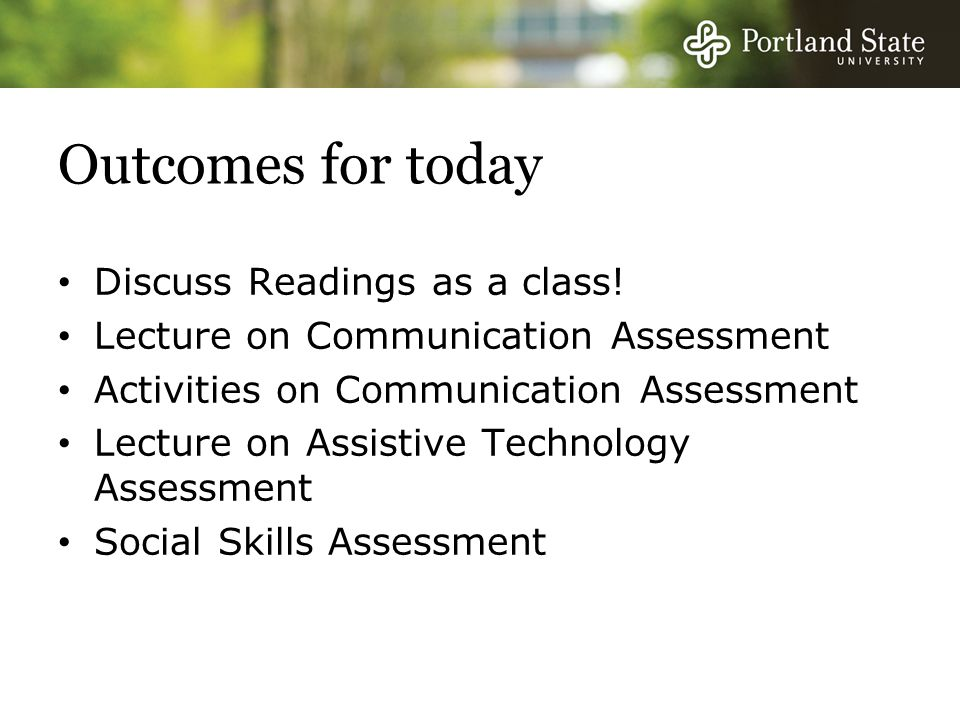 Outcomes for today Discuss Readings as a class!