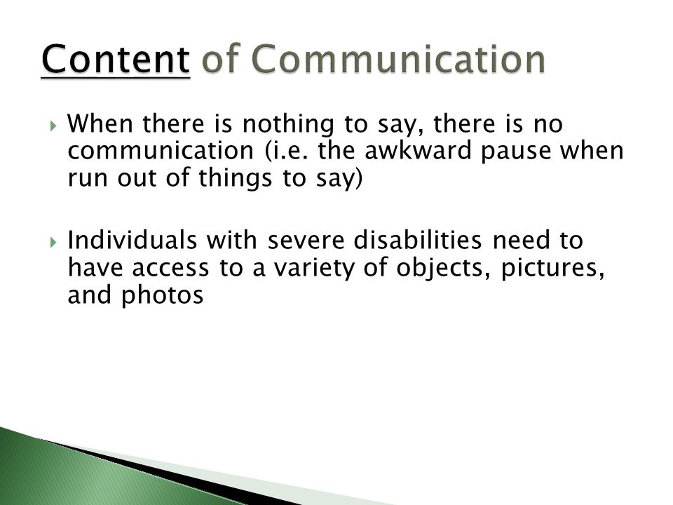 Content of Communication