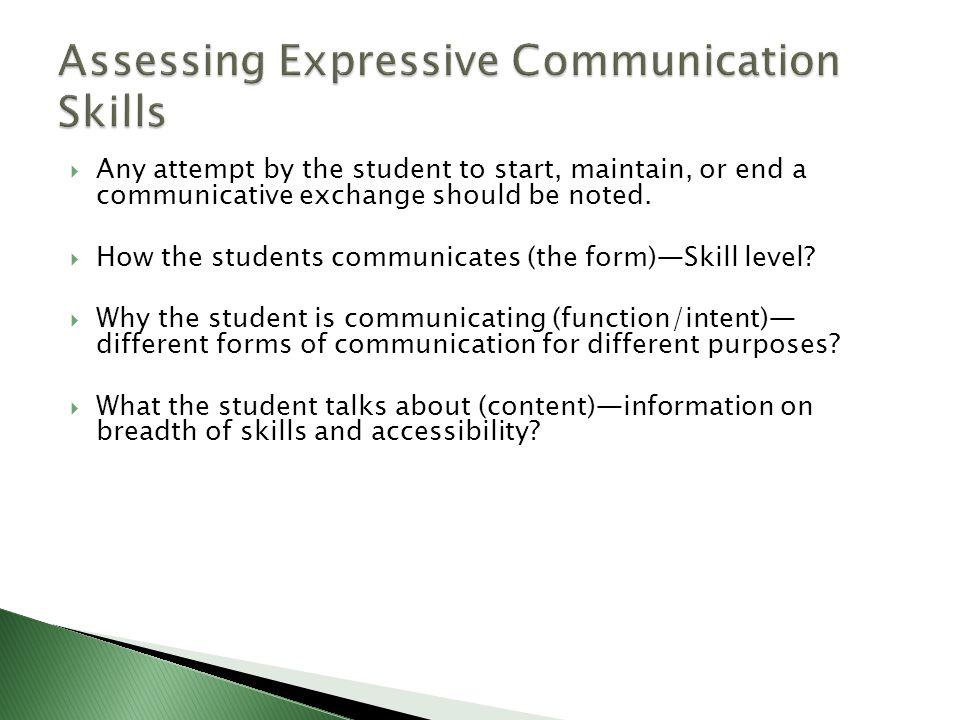 Assessing Expressive Communication Skills