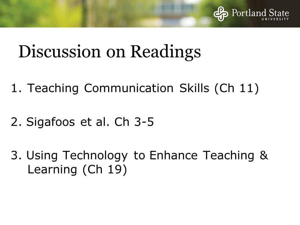 Discussion on Readings