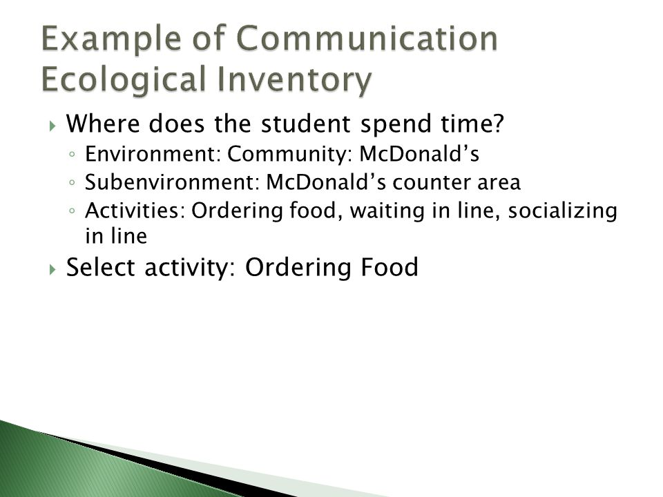 Example of Communication Ecological Inventory