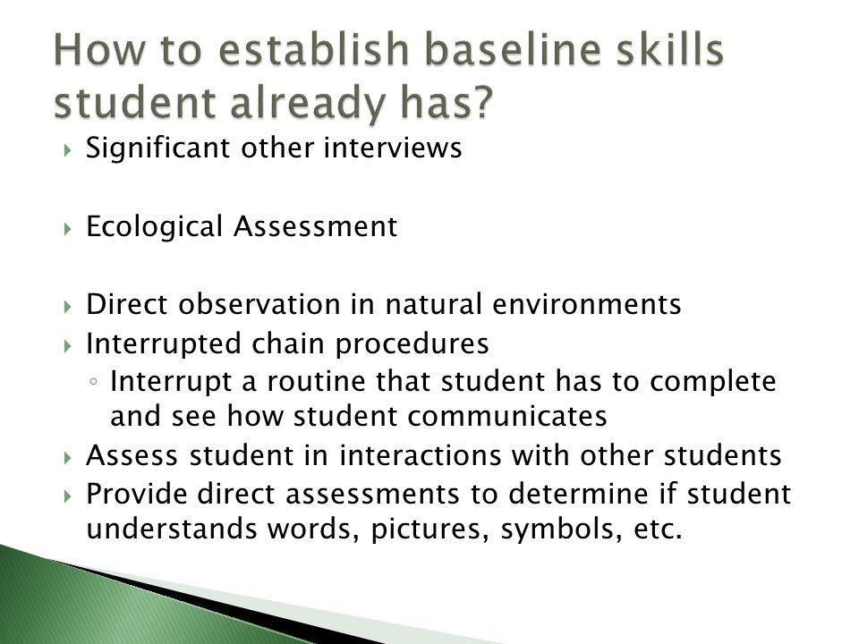 How to establish baseline skills student already has