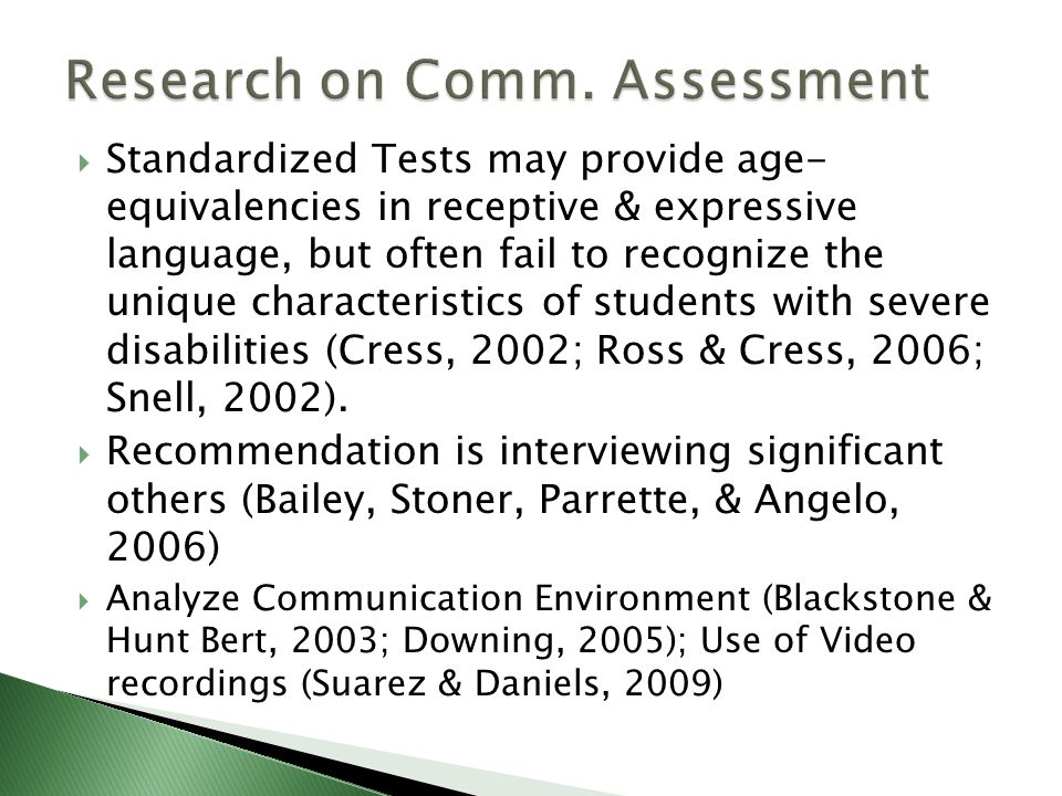 Research on Comm. Assessment