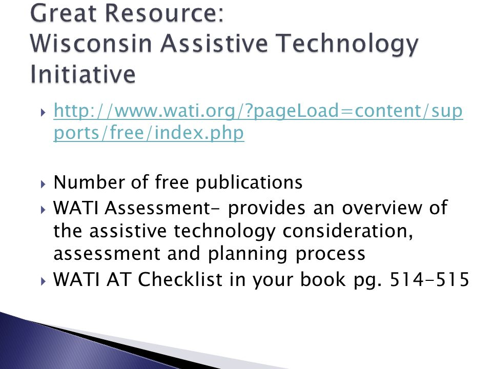Great Resource: Wisconsin Assistive Technology Initiative