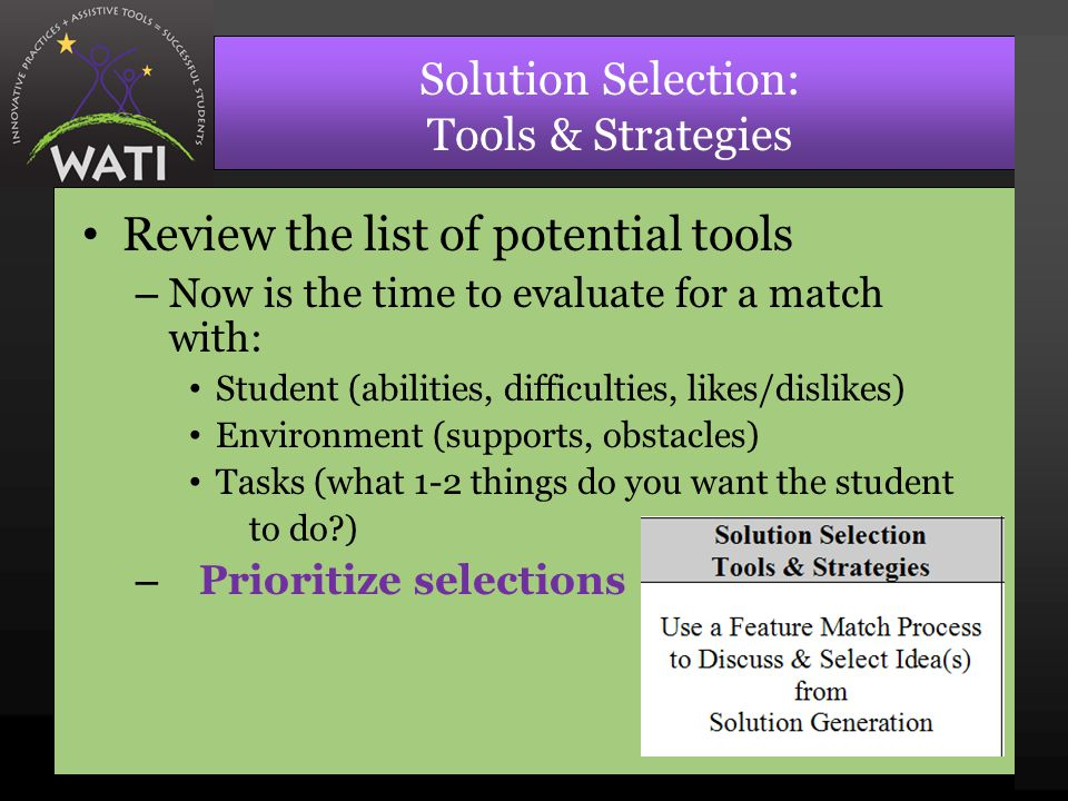 Solution Selection: Tools & Strategies