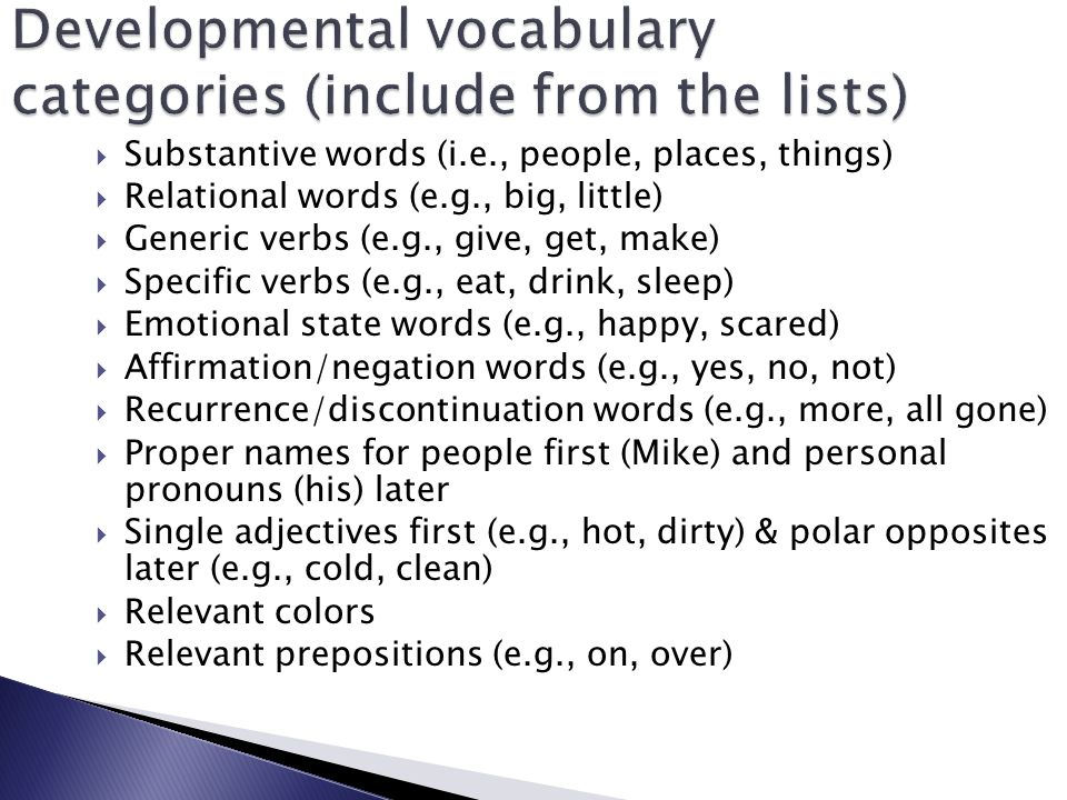 Developmental vocabulary categories (include from the lists)