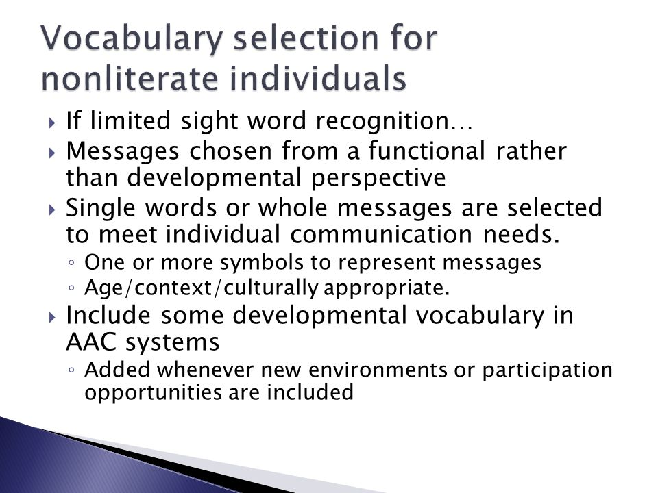Vocabulary selection for nonliterate individuals