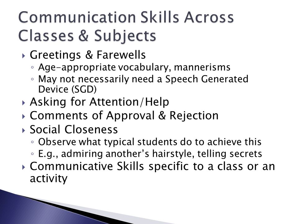 Communication Skills Across Classes & Subjects