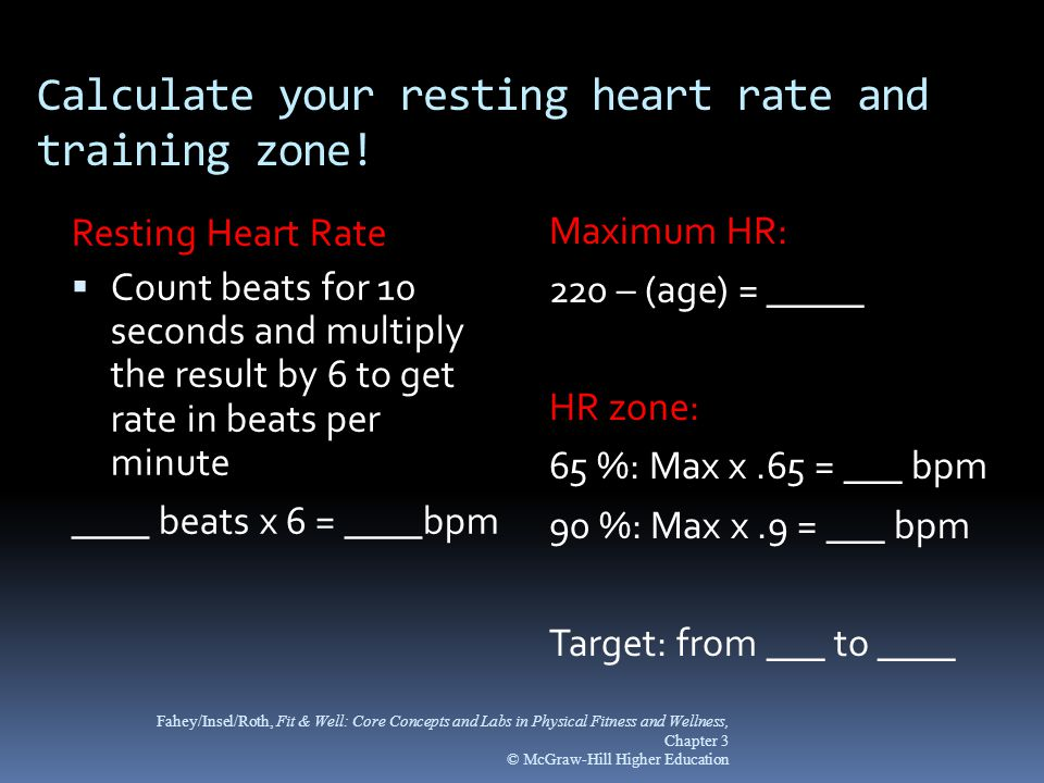 Calculate your resting heart rate and training zone!