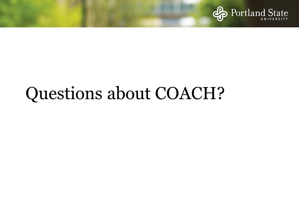 Questions about COACH