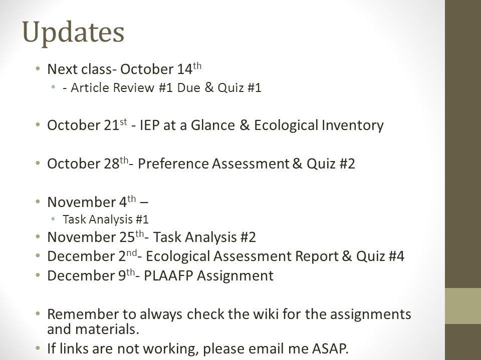 Updates Next class- October 14th