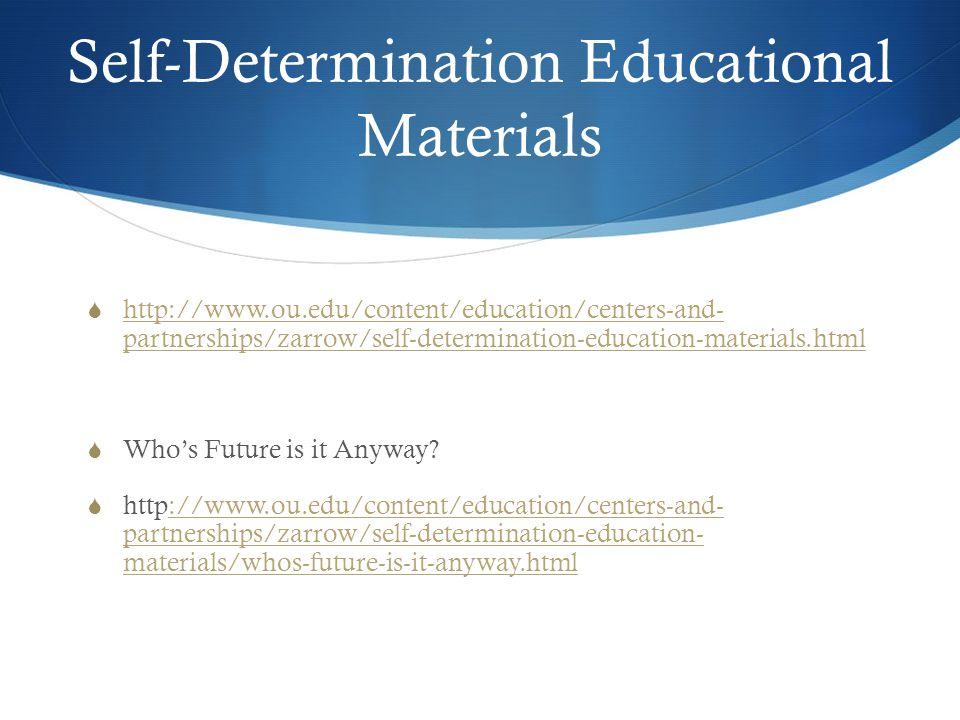 Self-Determination Educational Materials