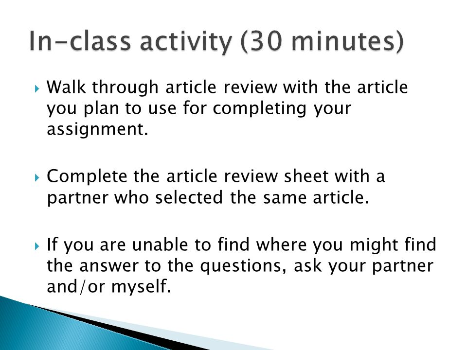 In-class activity (30 minutes)