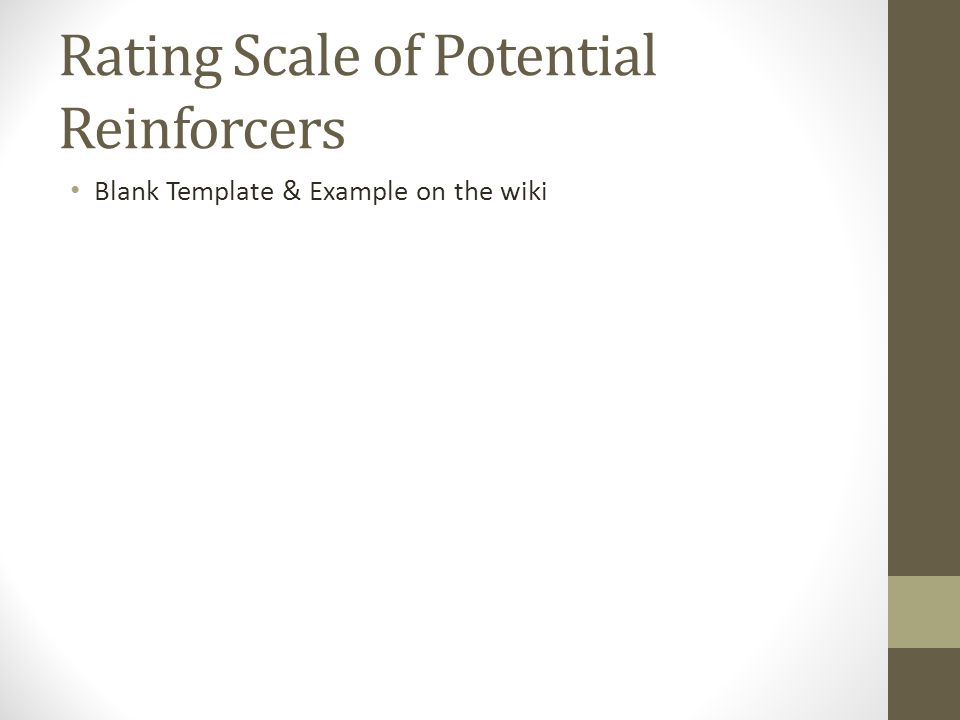 Rating Scale of Potential Reinforcers