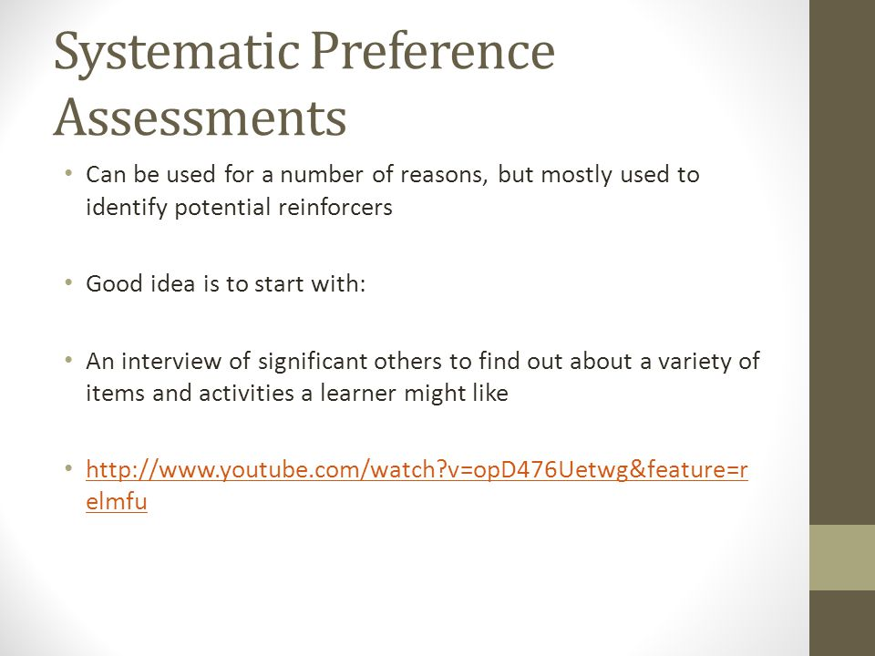 Systematic Preference Assessments