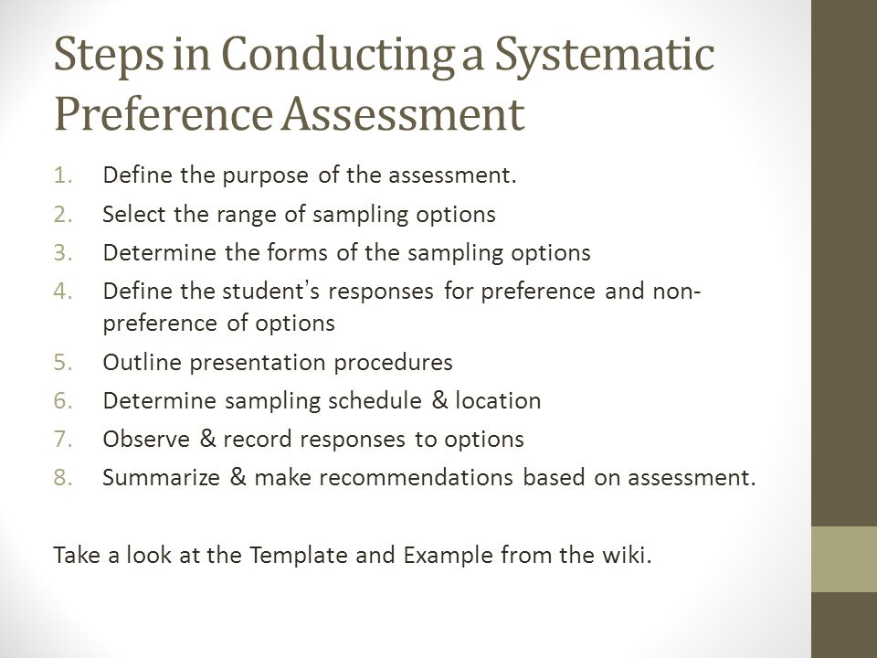 Steps in Conducting a Systematic Preference Assessment