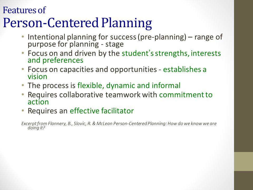 Features of Person-Centered Planning