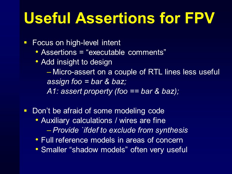 Useful Assertions for FPV
