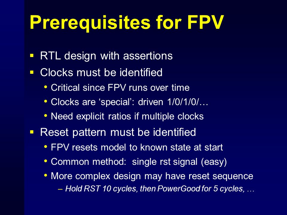 Prerequisites for FPV RTL design with assertions