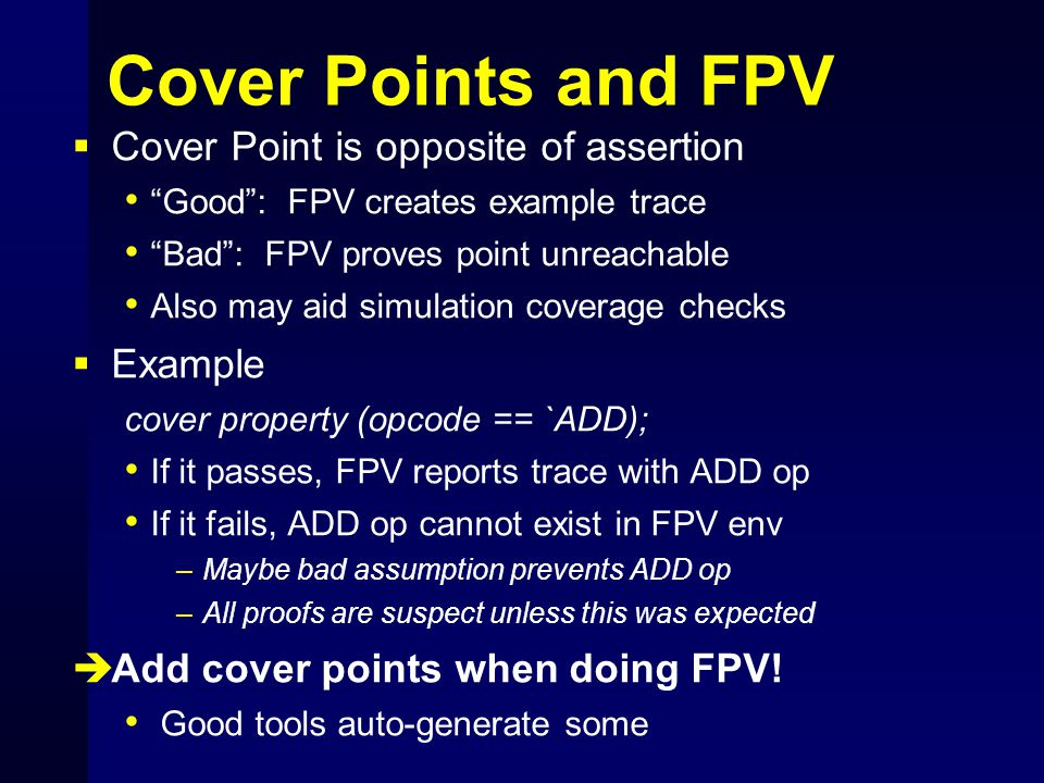 Cover Points and FPV Cover Point is opposite of assertion Example