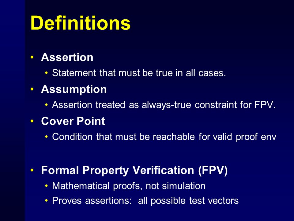 Definitions Assertion Assumption Cover Point