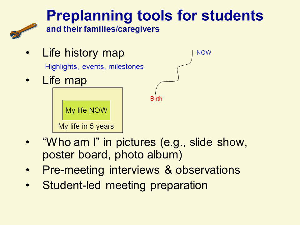Preplanning tools for students and their families/caregivers