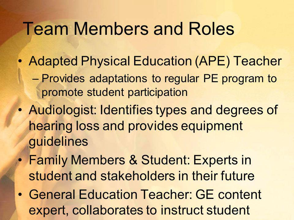 Team Members and Roles Adapted Physical Education (APE) Teacher