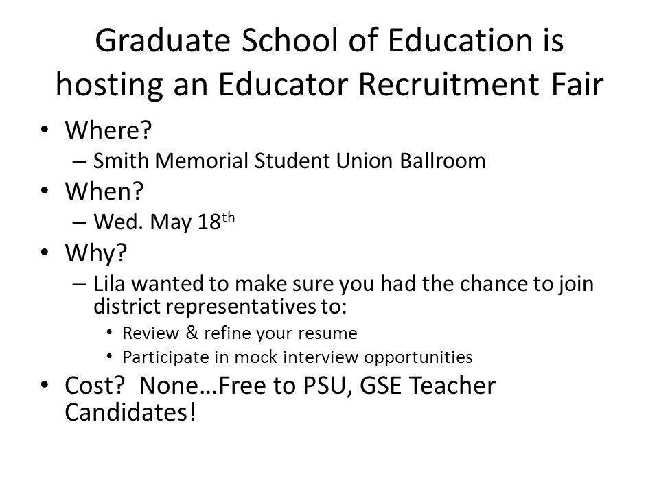 Graduate School of Education is hosting an Educator Recruitment Fair