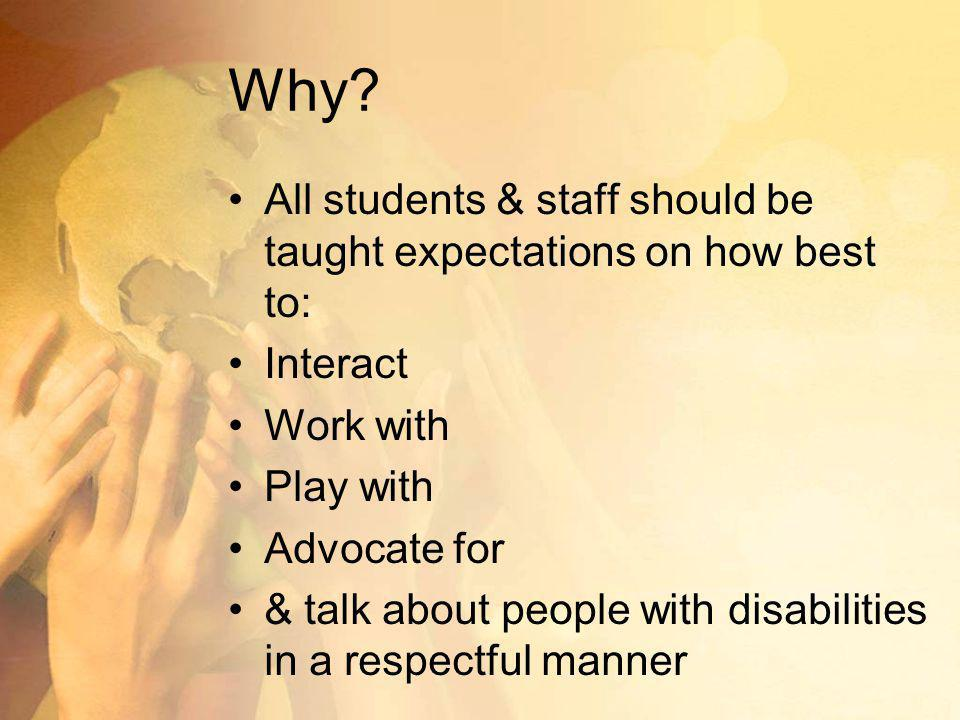 Why All students & staff should be taught expectations on how best to: Interact. Work with. Play with.