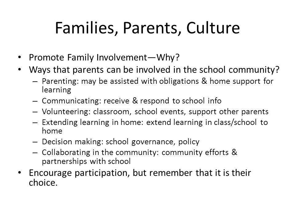Families, Parents, Culture