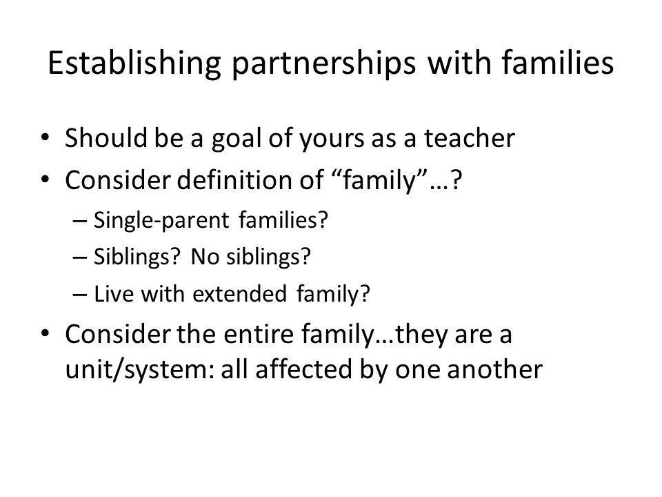 Establishing partnerships with families