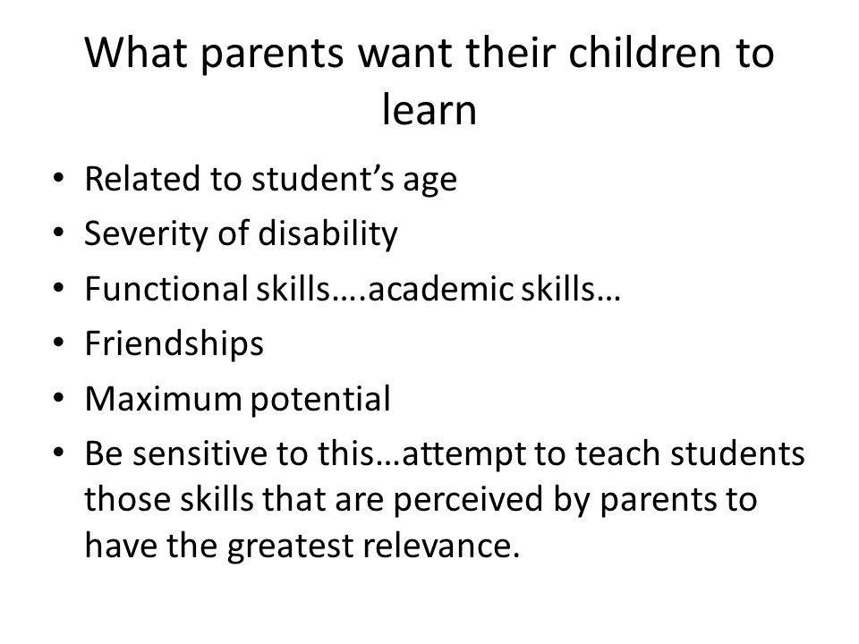 What parents want their children to learn